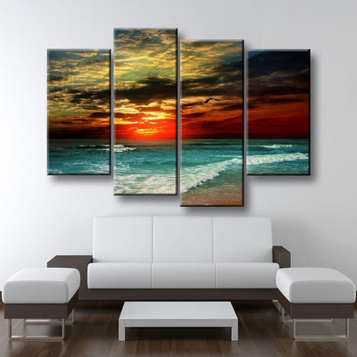 Red Tropical Paradise Sunset - Amazing Canvas Prints