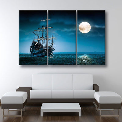 Ship In The Moonlight - Amazing Canvas Prints
