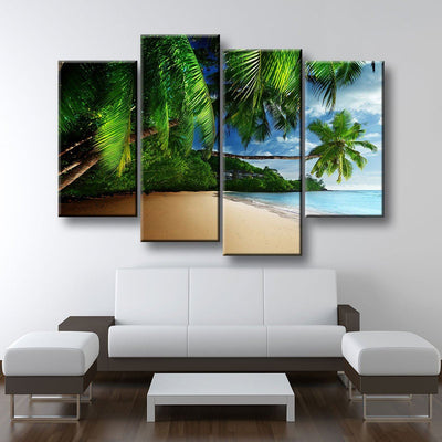 Tropical Beach And Palm Trees Canvas Print