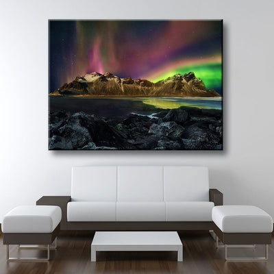 Vestrahorn Mountain Aurora - Amazing Canvas Prints