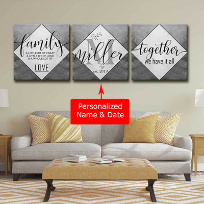 Personalized Family 3pc Canvas Set V2 - Amazing Canvas Prints