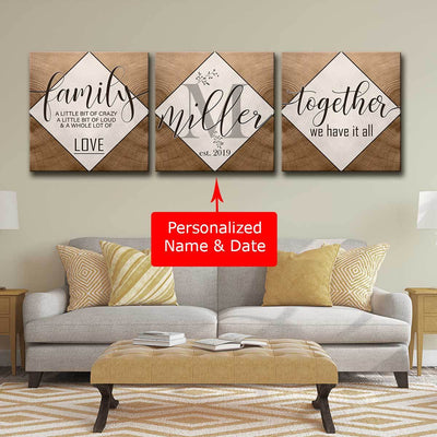 Personalized Family 3pc Canvas Set V3 - Amazing Canvas Prints