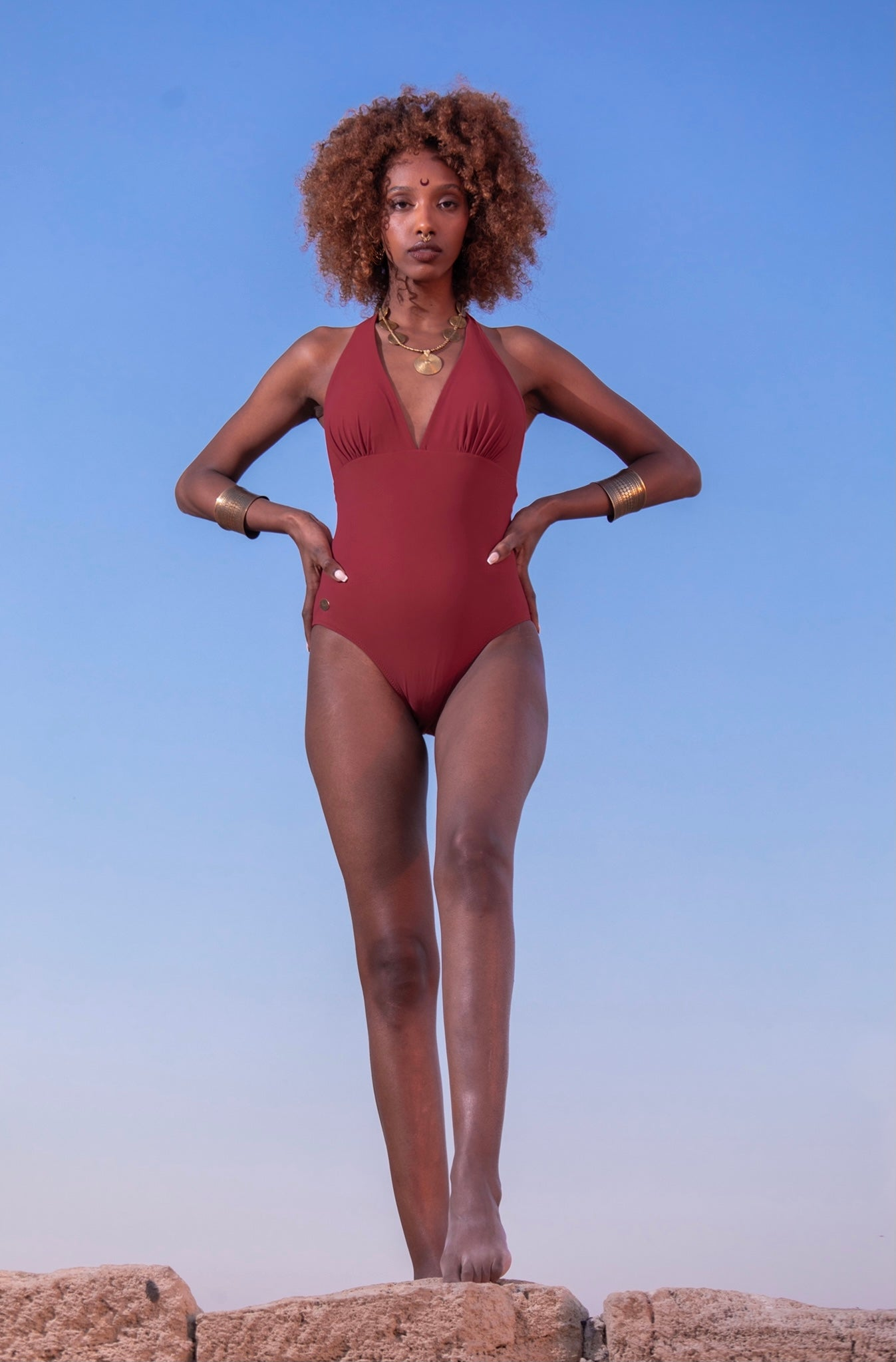 Halter Neck One Piece Swimsuit For Women