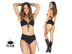 Black Cheeky Booty Bikini Set For Women