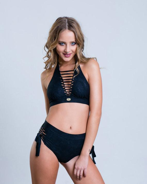 Black High Waisted Bikini Set For Women