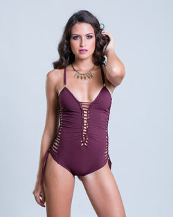 Bordeaux One Piece Swimsuit For Women