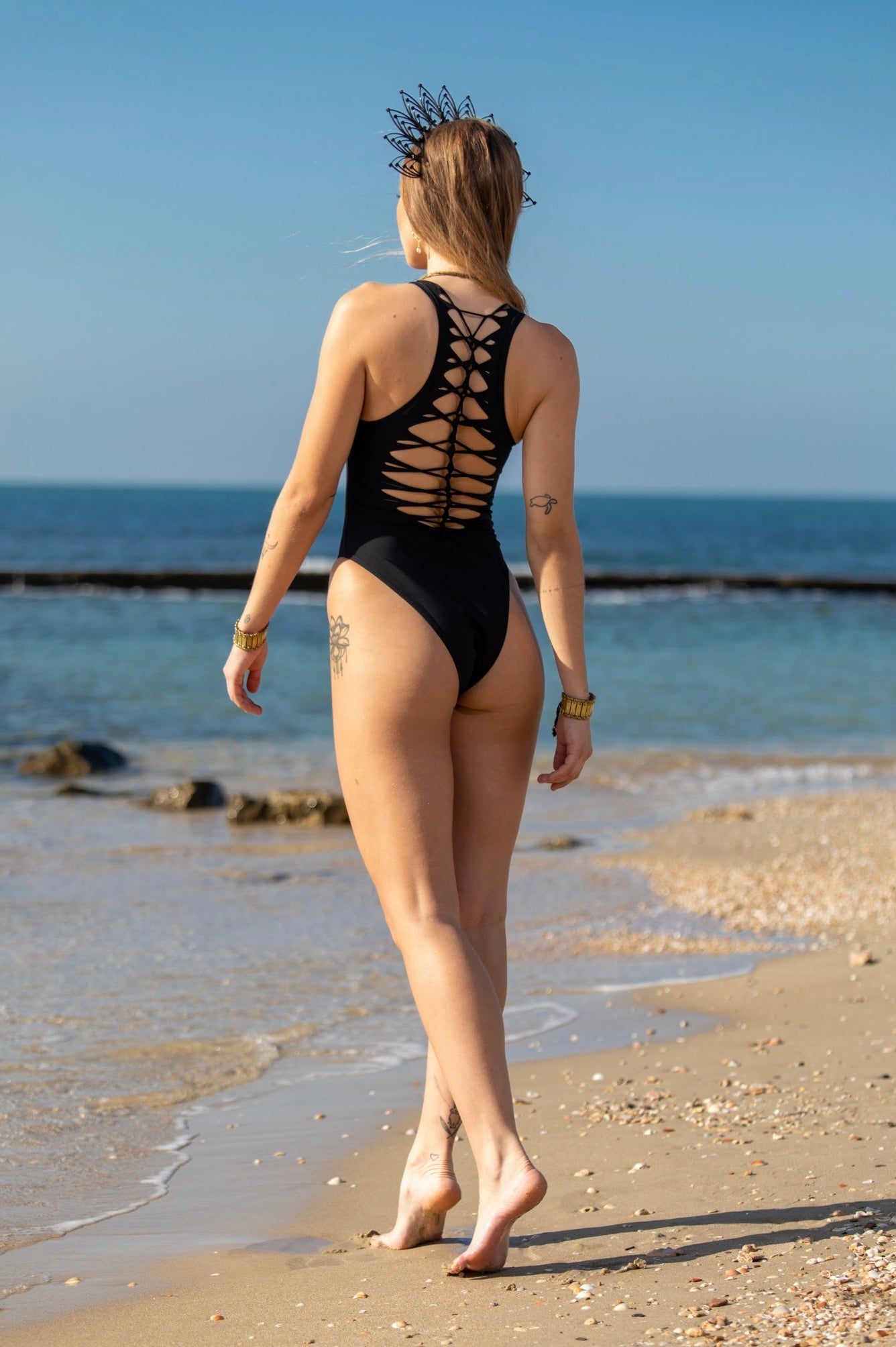 Black One Piece High Leg Swimsuit For Women