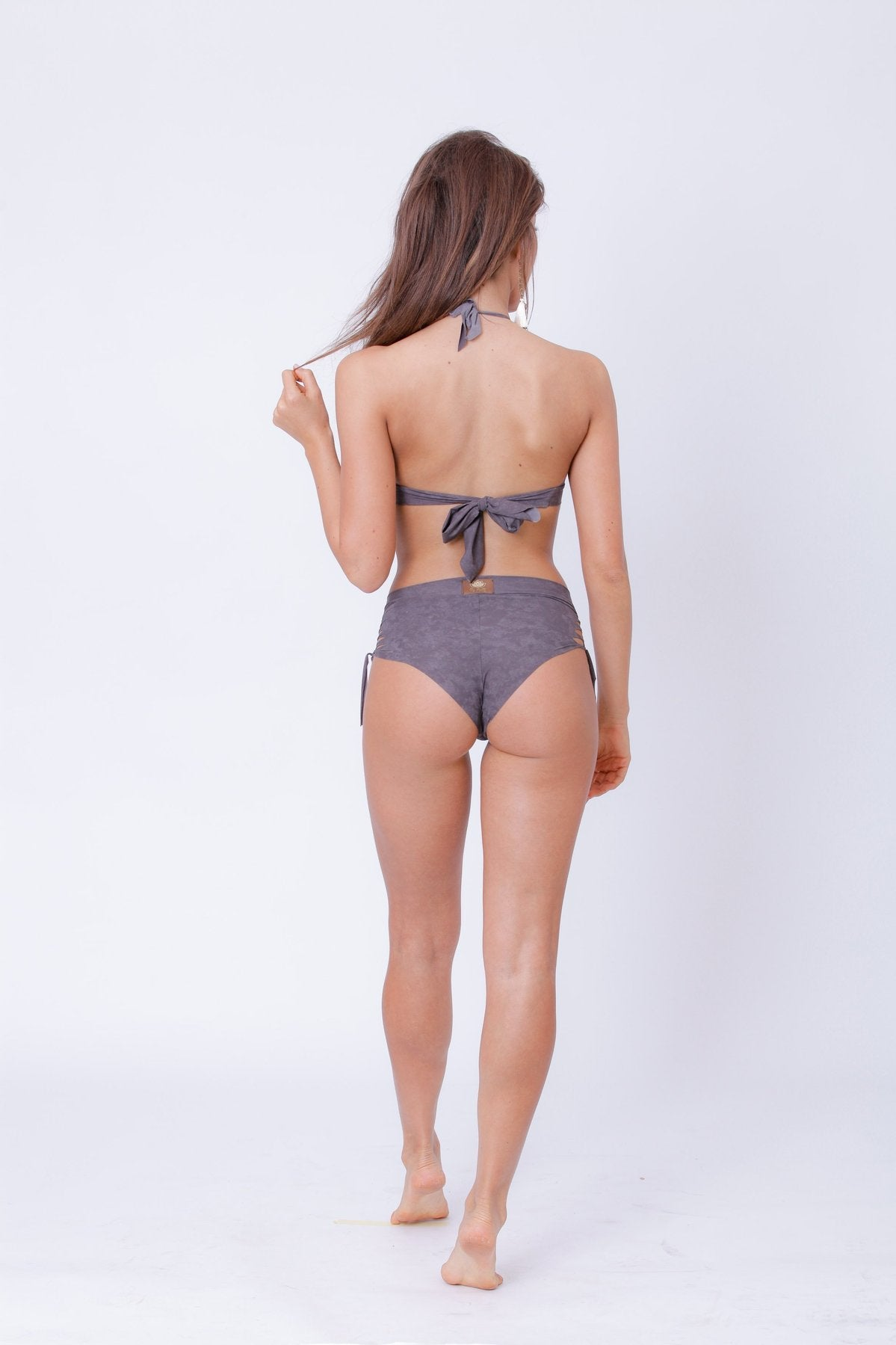 Gray High Waisted Bikini Set For Women