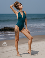 "Teal Halter Neck One Piece Swimsuit For Women ""ADI"" (Lycra Fabric)"