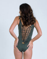 Cut Swimsuit : 'Suede' Green