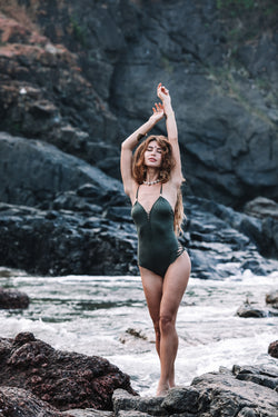 Dorin Swimsuit : 'Suede' Army Green