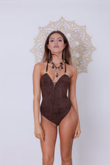 Dorin Swimsuit : 'Suede' Brown