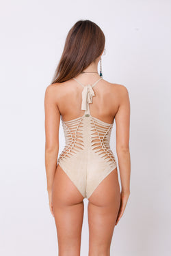 Dorin Swimsuit : 'Suede' Light Beige
