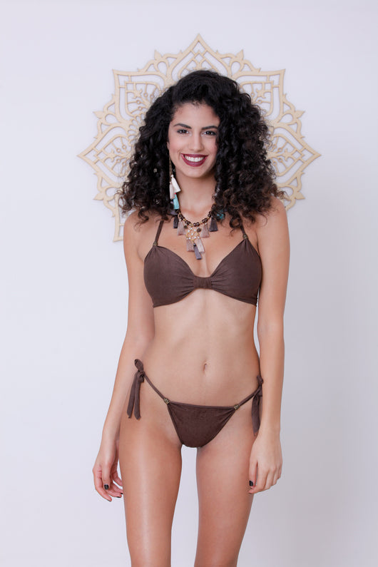 Beads Bikini : Brown 'Suede'