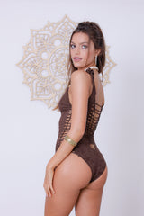 Side Swimsuit : Brown 'Suede'