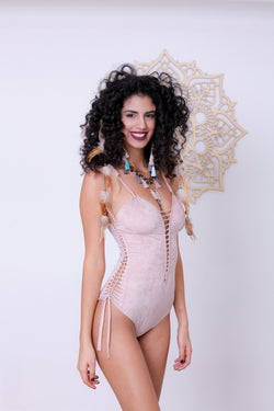 Deli Swimsuit : 'Suede' Antique Pink