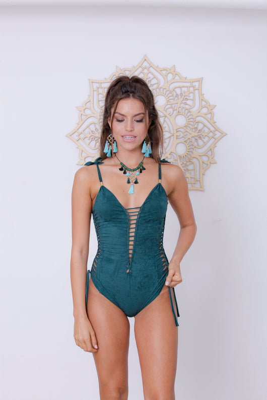 Side Swimsuit : 'Suede' Teal
