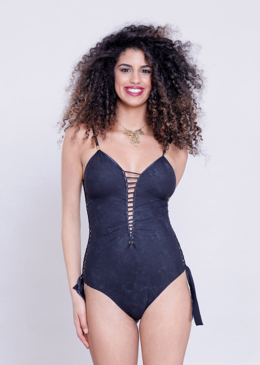 Side Swimsuit : Lycra Marble Black