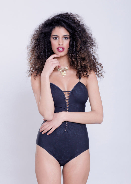 Classic Swimsuit : Lycra Marble Black