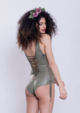 Classic Swimsuit : Wetlook Green