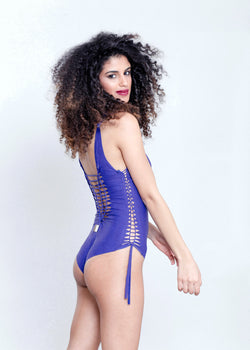 Deli Swimsuit : Lycra Marble Purple