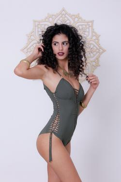 Olive Green One Piece Swimsuit For Women