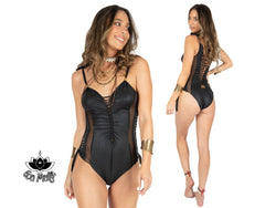 One Piece Swimsuit For Women In Black Fake Leather Fabric
