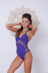 Shabby Purple Halter Neck One Piece Swimsuit For Women (Lycra Fabric)