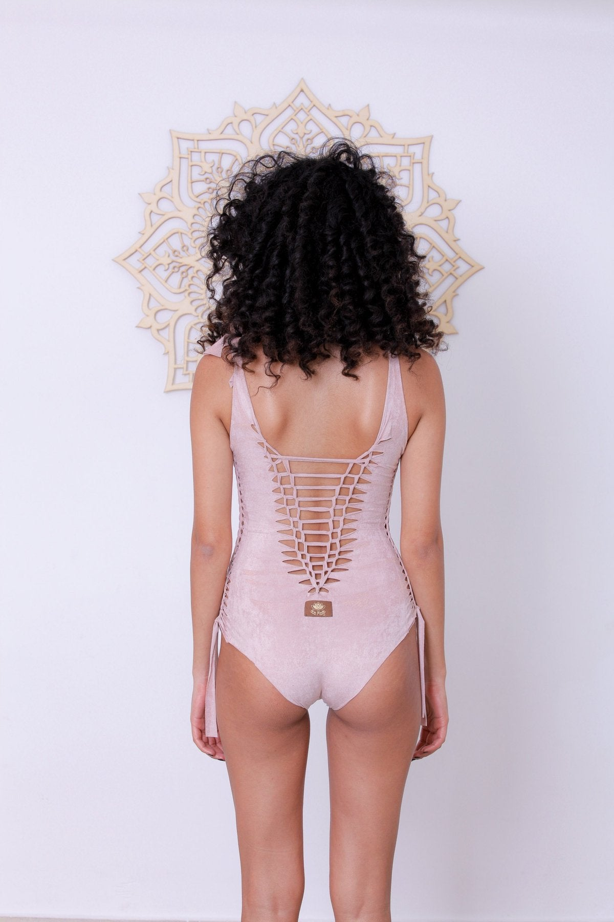 Suede Look Antique Pink One Piece Swimsuit For Women