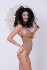 "Suede Look Beige One Piece Swimsuit For Women ""DELI"""
