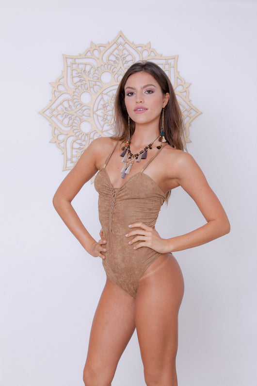 Suede Look Beige One Piece Swimsuit For Women