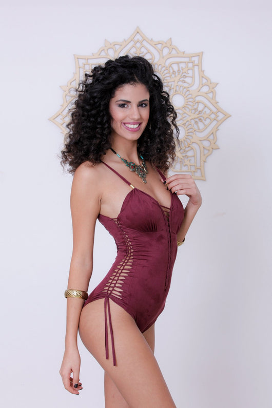 Suede Look Bordeaux One Piece Swimsuit For Women