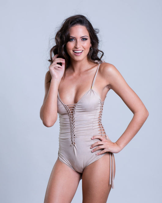 Suede Look Cream One Piece Swimsuit For Women