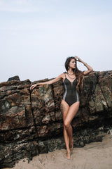 "Suede Look Dark Khaki Combo One Piece Swimsuit For Women ""HILA"" (Lycra Fabric)"