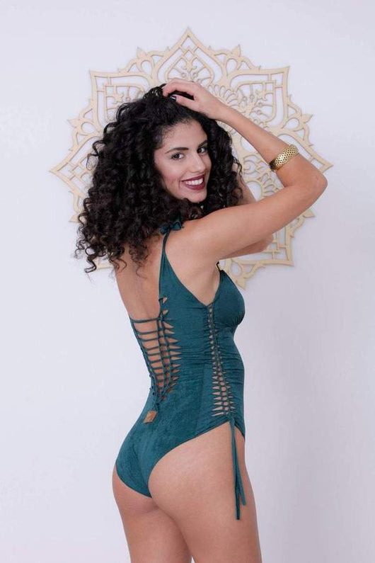 Suede Look Green One Piece Swimsuit For Women