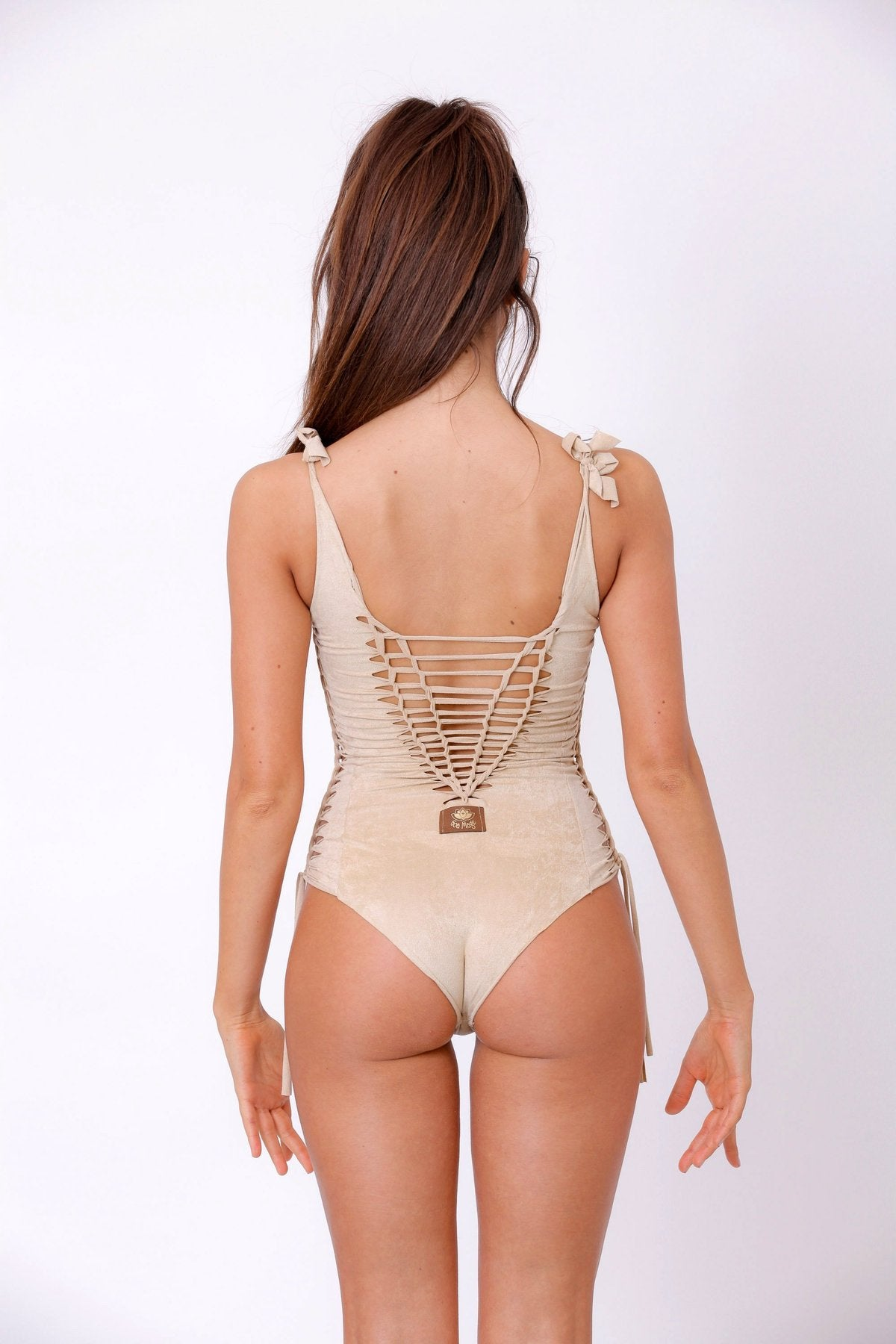 Suede Look Light beige One Piece Swimsuit For Women
