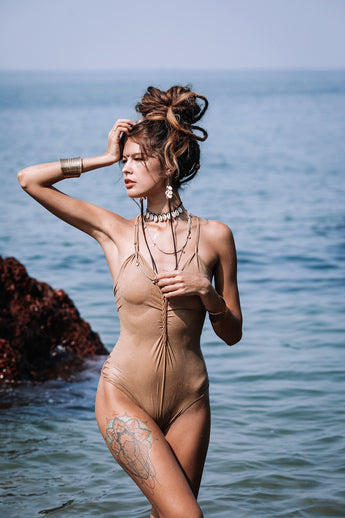 Suede Look Nude (Cream Color) One Piece Swimsuit For Women