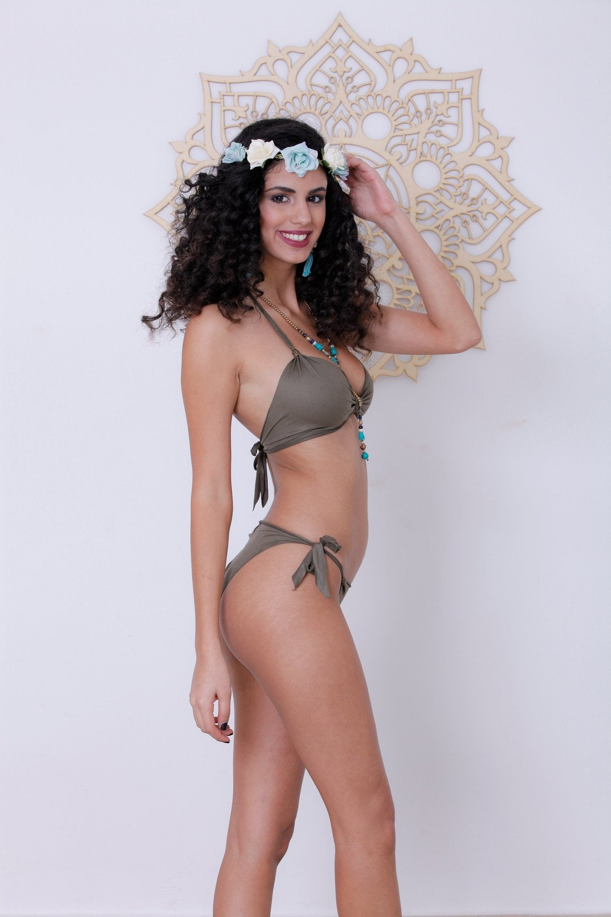 Suede Look Olive Green Bikini Set For Women