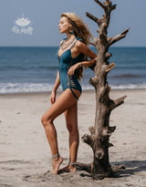 "Suede Look Teal-Turquoise One Piece Swimsuit For Women ""SIDE"""