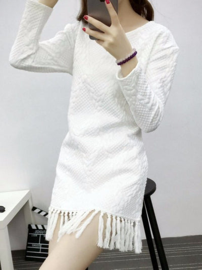 Straight Slim Style Tassel Long Sleeve Dress - Young and Trendy