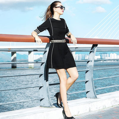 Black and White Stripe Splicing Slim Dress - Young and Trendy