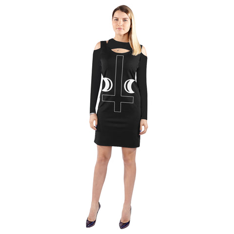 Illusion Cross Gothic Art Cold Shoulder Long Sleeve Dress