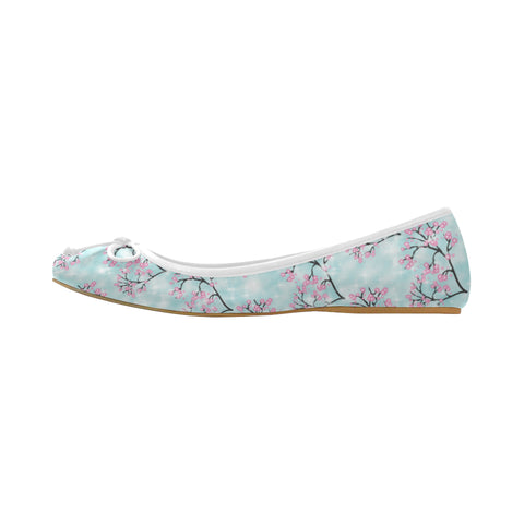 Spring Blossoms Print Juno Ballet Pumps (Model 312)