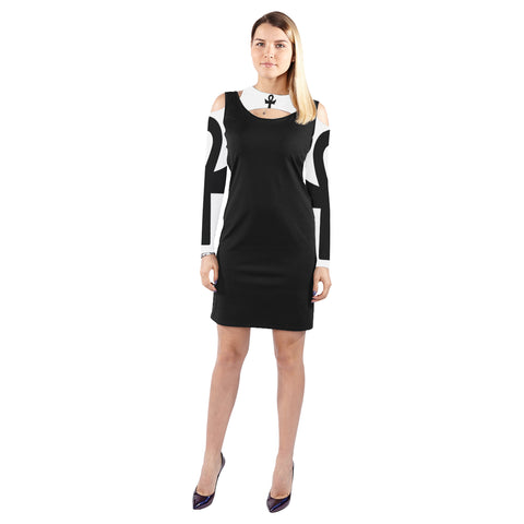 Batwing Ankh Goth Art Cold Shoulder Long Sleeve Dress