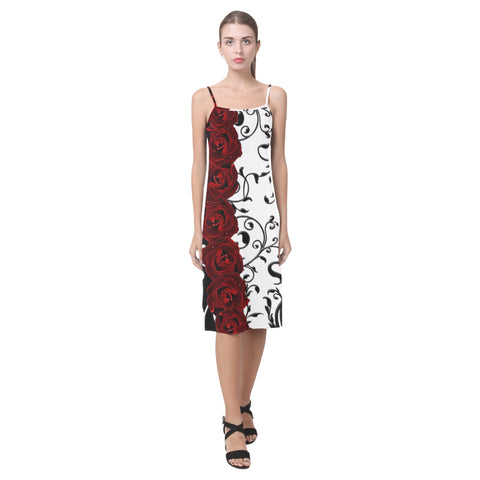 Damask and Roses Gothic Print Alcestis Slip Dress (Model D05)