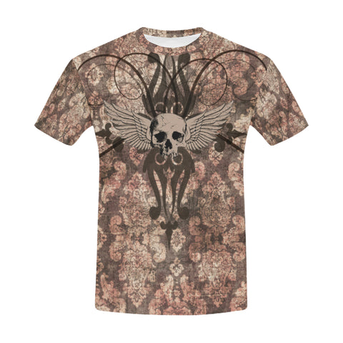 Grunge Gold Distressed Skull Steampunk Print All Over Print T-Shirt