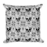 Pentagram Skulls Gothic Square Throw Pillow
