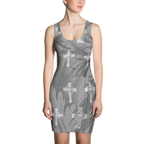 Damask Crosses Gothic Bodycon Dress