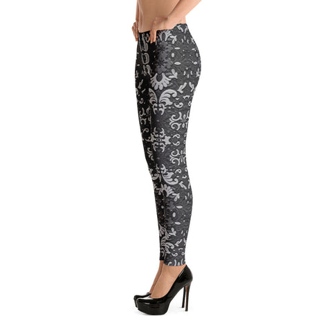 Dark Gray Lace Goth Leggings