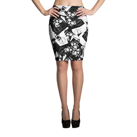 Time Flies Gothic Skulls Pencil Skirt